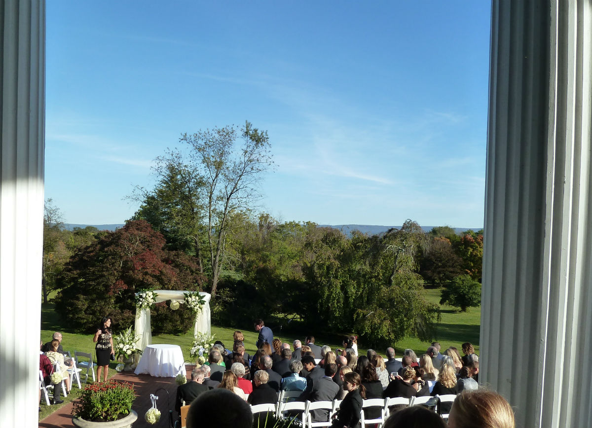View on the wedding ceremony from the patio