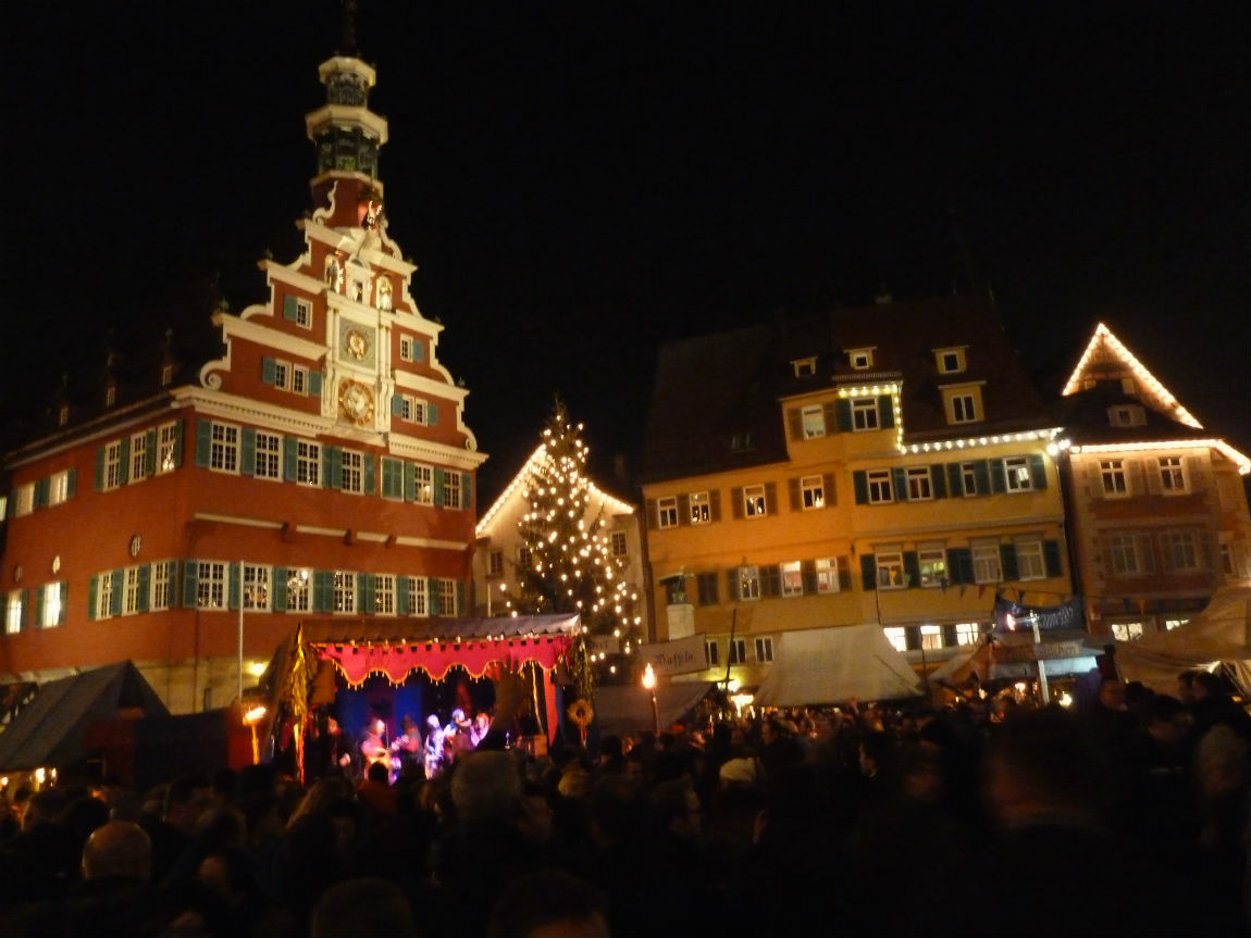 Medieval Christmas Market infront of the city hall in Esslingen