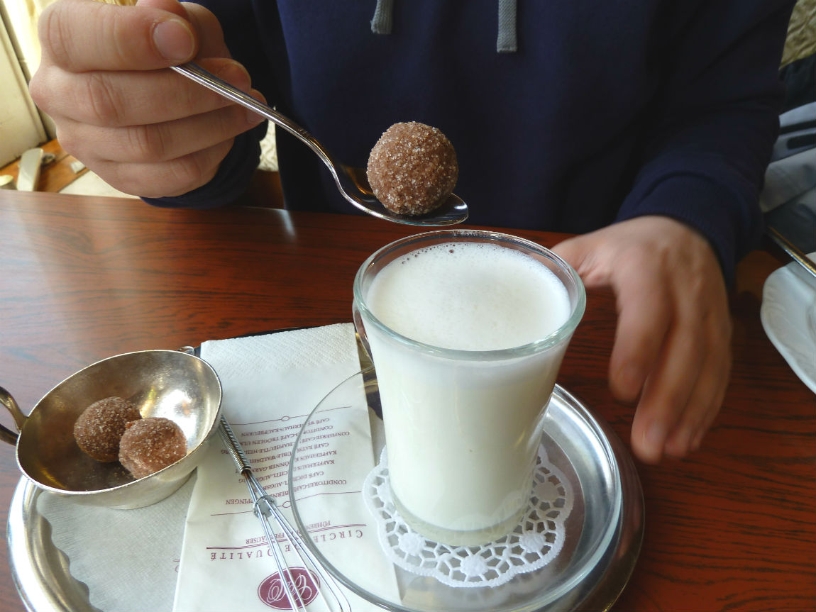 A praline and hot milk