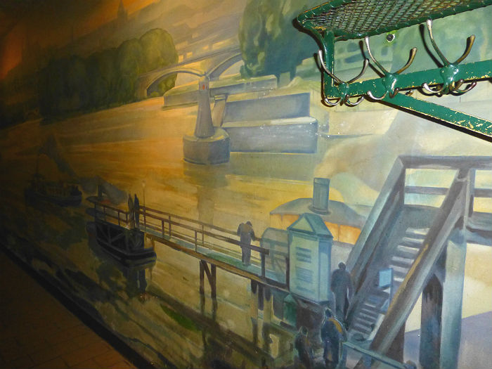 Wall painting of Karl's Bridge in Wall painting in Novomestsky Pivovar in Prague