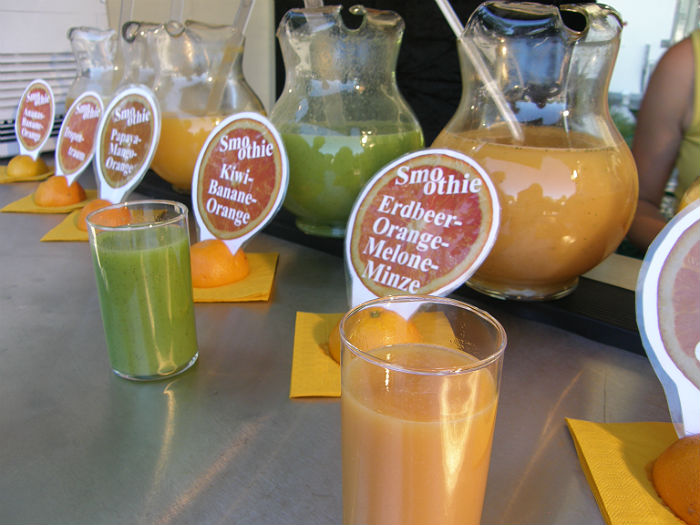 Selection of fruit smoothies
