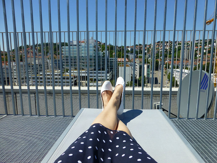 Enjoying my lunch break on the sundeck of City Library Stuttgart