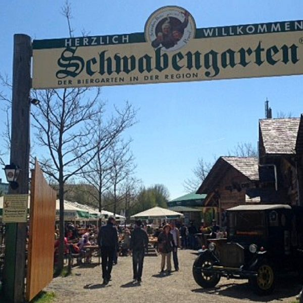 Schwabengarten in Leinfelden-Echterdingen is a typical German beer garden near to Stuttgart.