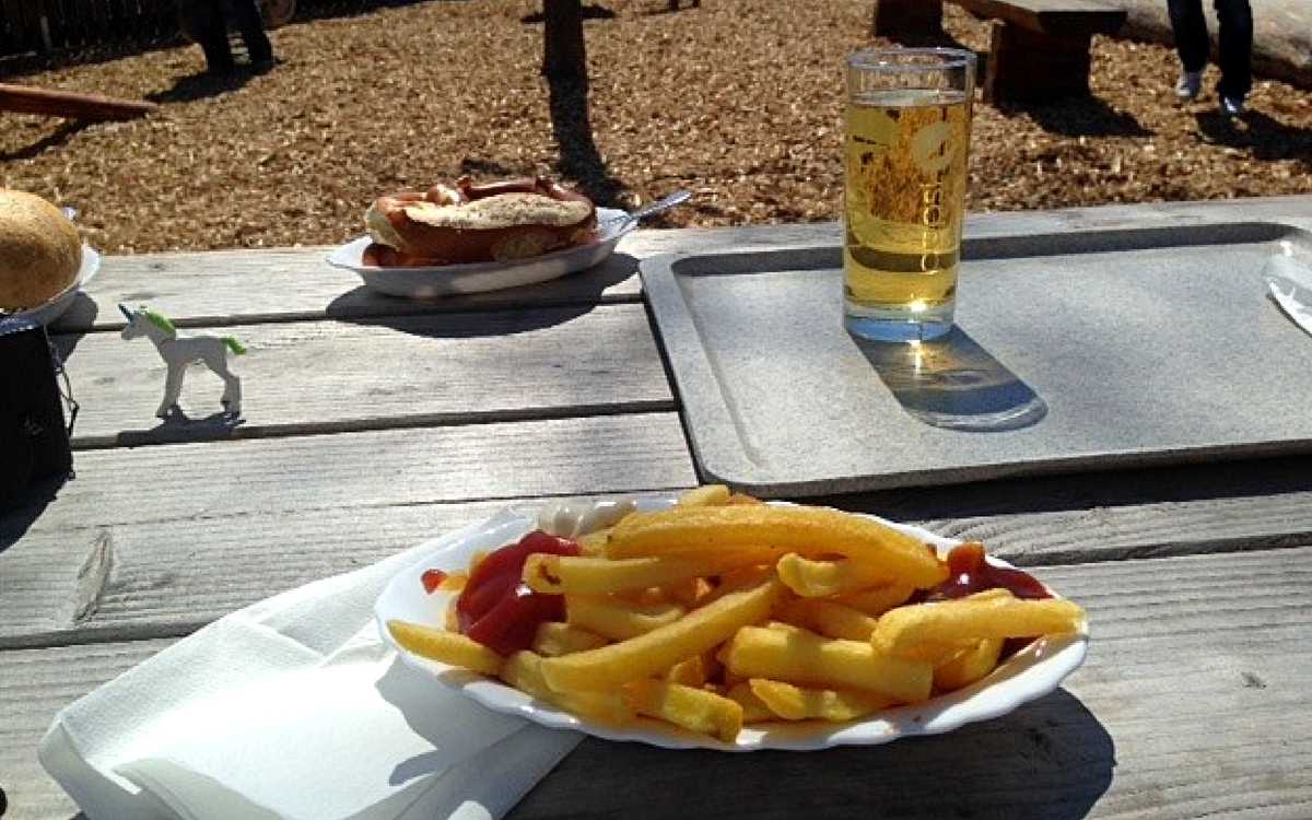 Fries at beer garden Schwabengarten