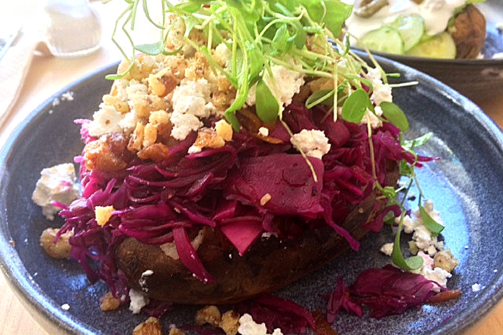 My huge baked potato with red cabbage and goats's cheese at Grombier in Stuttgart.
