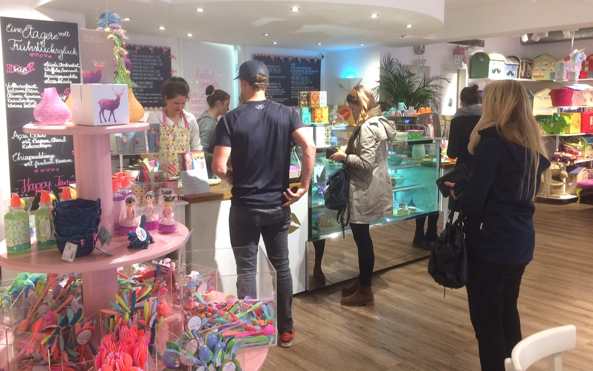 People shopping for gift and food at Riceteria Stuttgart