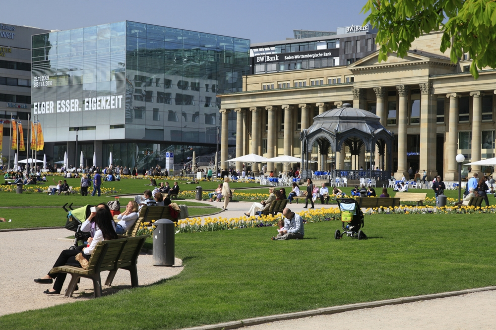 The beautiful Schlossplatz in Stuttgart.