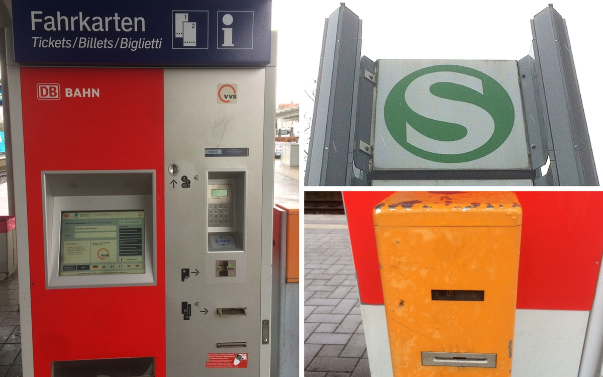 S Bahn in Stuttgart: ticket machine and sign