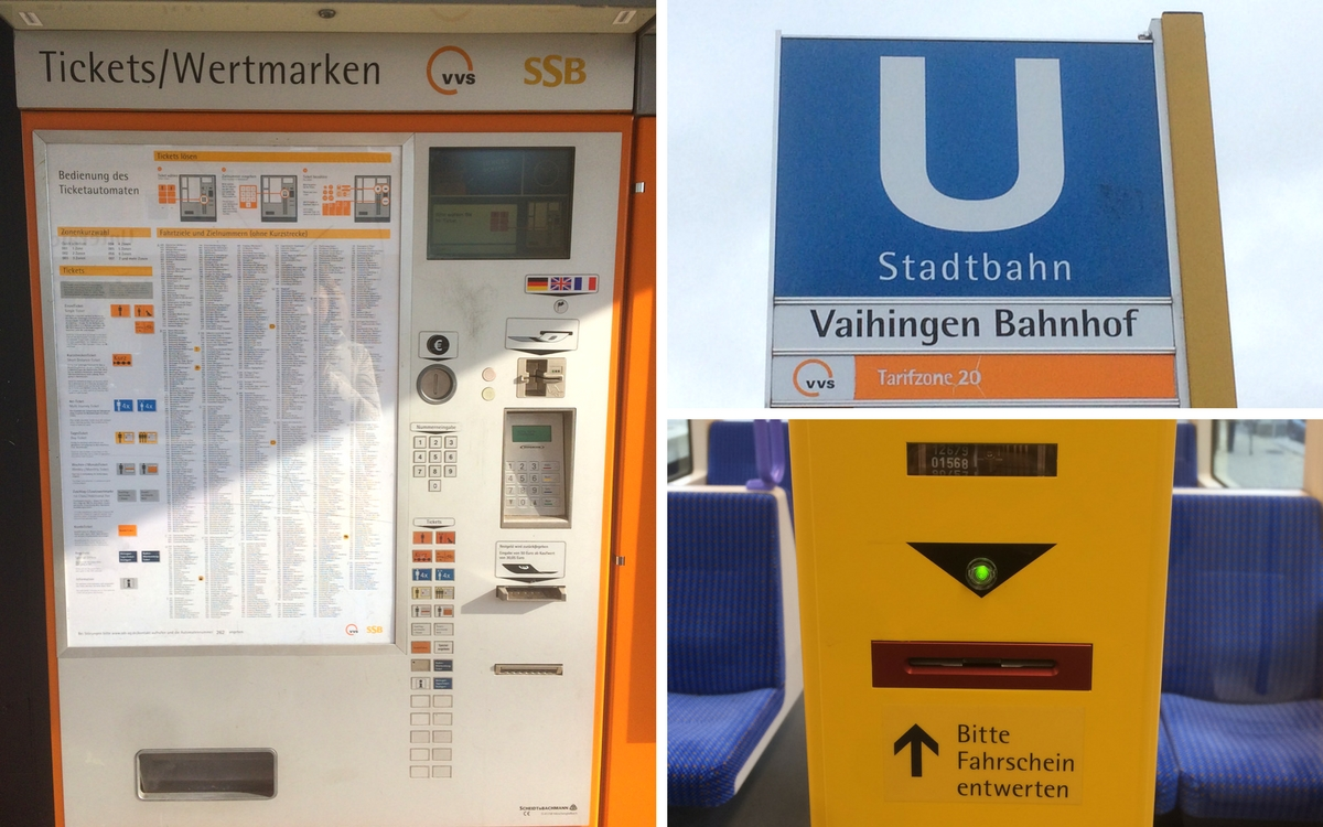 U Bahn Stuttgart: ticket machine and sign