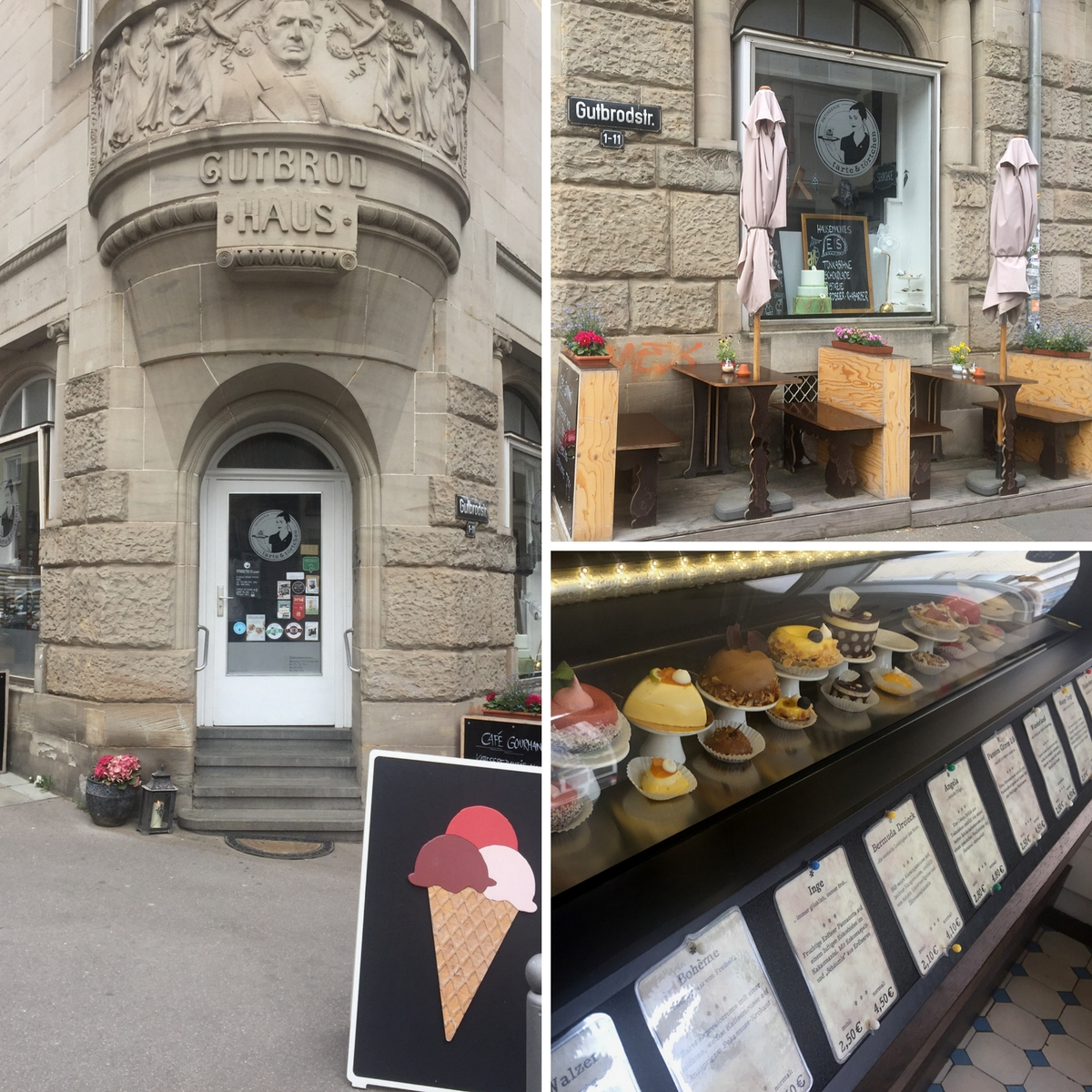 Outside seating and inside cake presentation at Tarte & Törtchen in Stuttgart-West