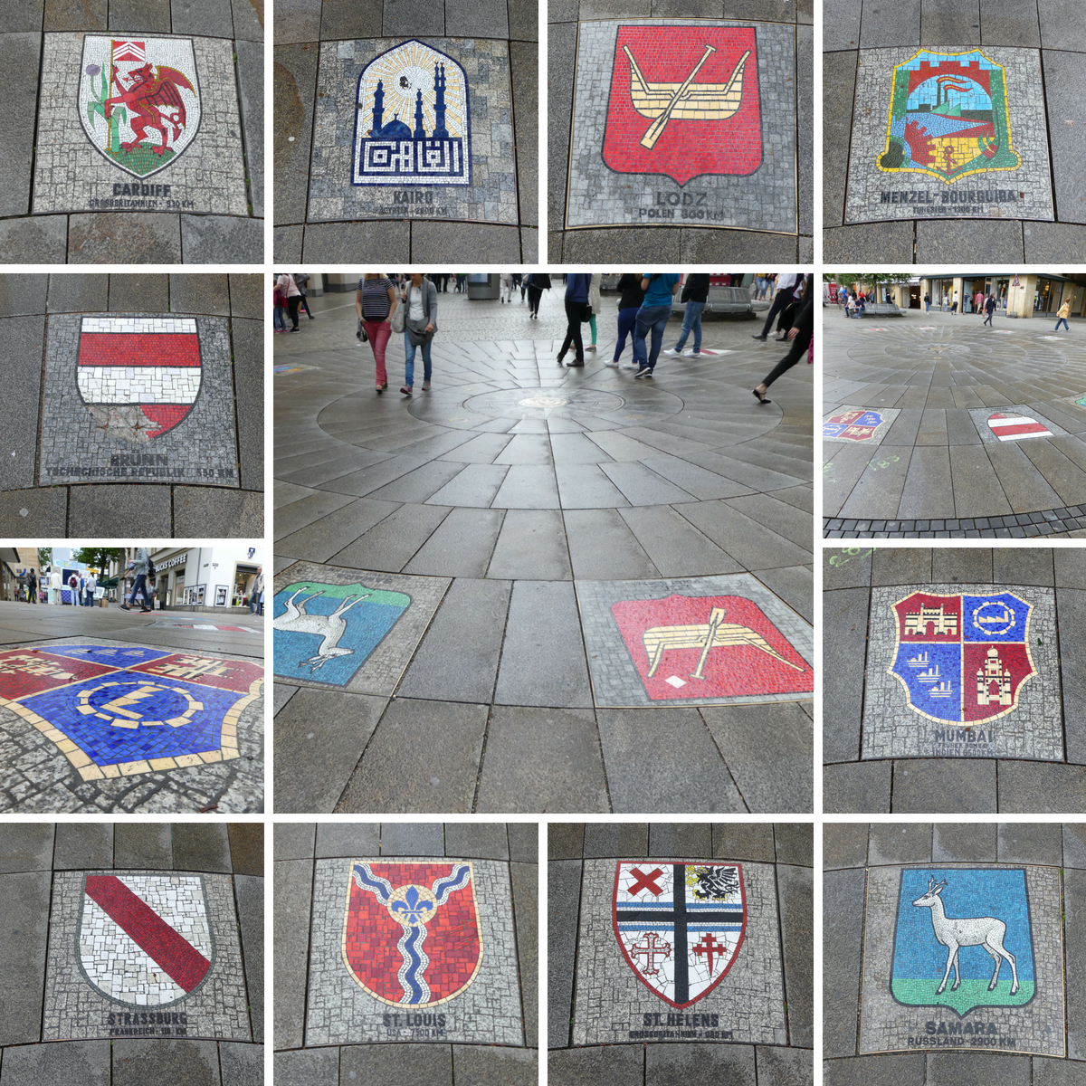 You can find the codes of arms of Stuttgart's sister cities on Königstraße