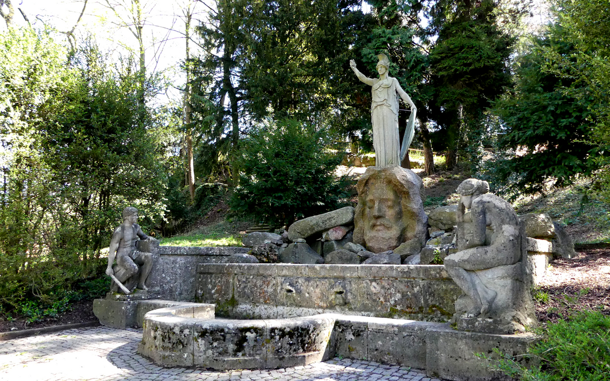 The pretty Pallas-Athene-Brunnen at Karlshöhe in Stuttgart.