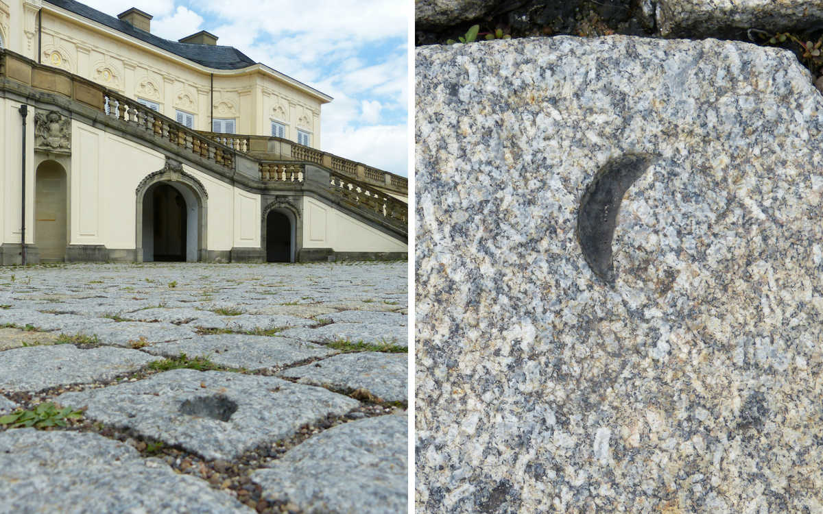 The miniment New Moon by Micha Ullman in front of castle Solitude in Stuttgart-West