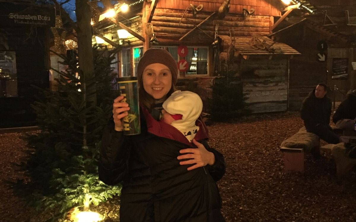 life hack Christmas market with baby